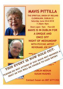 SOLD OUT **Mavis Pittilla Night of Mediumship Dublin SOLD OUT ** @ Spiritualist Union of Ireland | Dublin | County Dublin | Ireland